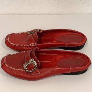 Bare Traps Red Leather Slip-On Mules Slides Sz 10M